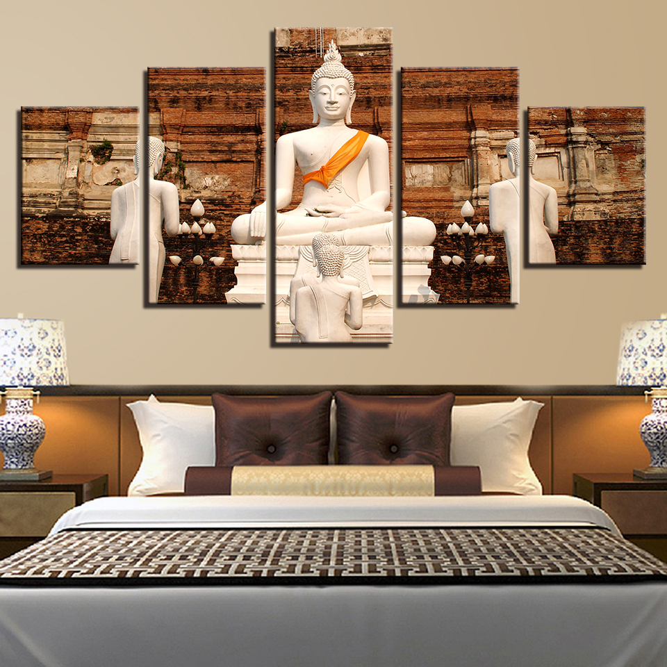 Living Room Pictures Home Wall Art Modular 5 Panel White Buddha Painting Poster Framework HD Printed Modern Canvas Decoration