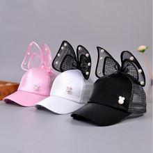 Абсолютно новые летние Дети дети жемчуг бант пика крышка бейсбольная Кепка для девочек оттенок воздухопроницаемый сетчатый крышки snapback шляпа