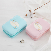 9*13*4.5cm Travelling Cosmetic Leather Jewelry Box lipsticks bracelet Cosmetic mirror Storage Case for jewelry packaging box