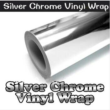 250mm x 1520mm Chrome Silver Mirror Vinyl Potection Vinyl Wrap Air Bubble Free Sticker Decal Sheet Body Kit  High Quality free shipping mirror silver chrome open
