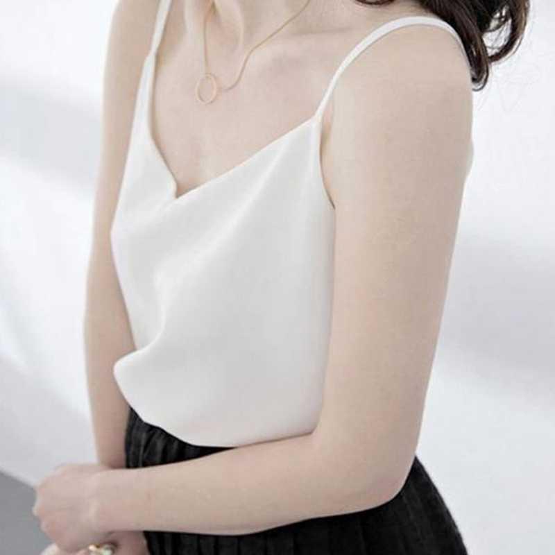 שיפון למעלה נשים סקסי ללא שרוולים למעלה בתוספת גודל Camis חולצות נשים קיץ הלטר חולצות קוריאני אישה Harajuku רצועת אפוד Tees נקבה