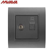 MVAVA TV/Television Aerial + Network Internet LAN RJ45 PC/Computer Decorative Socket Luxury PC Black Panel Outlet Free Shipping universal three inserted multifunctional tabletop french socket with rj45 black silver free shipping