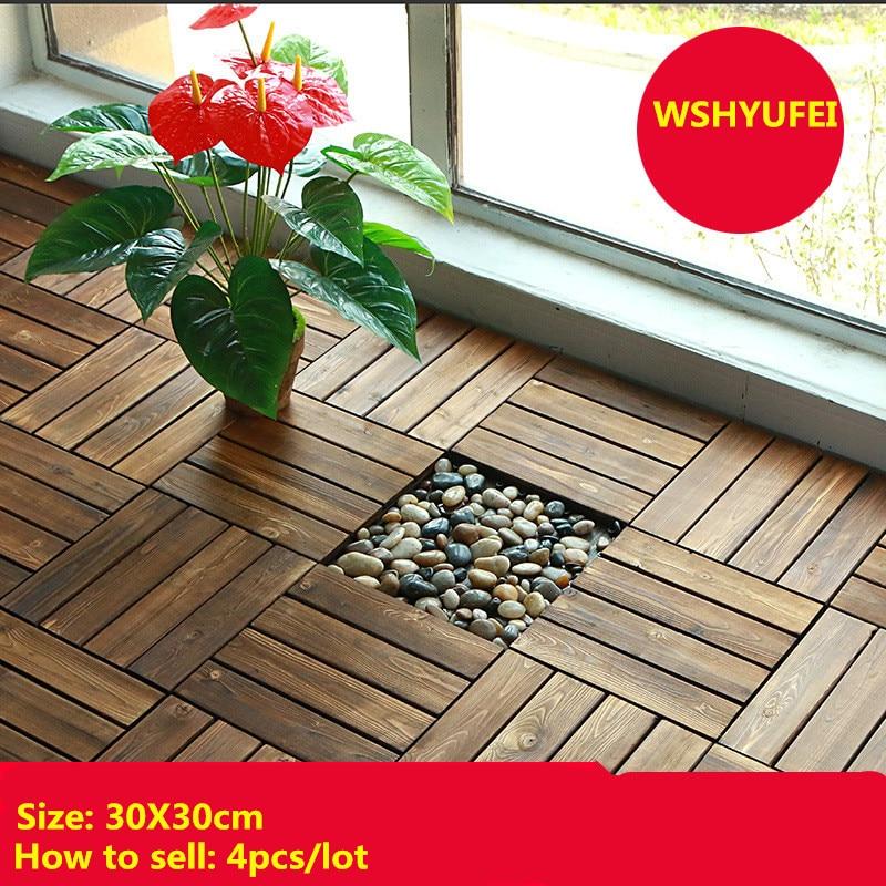 4pcs/lot DIY Wooden Floor Outdoor Wood Floor Balcony Outdoor Courtyard Garden Terrace Bathroom Waterproof Mosaic Floor Mosaic