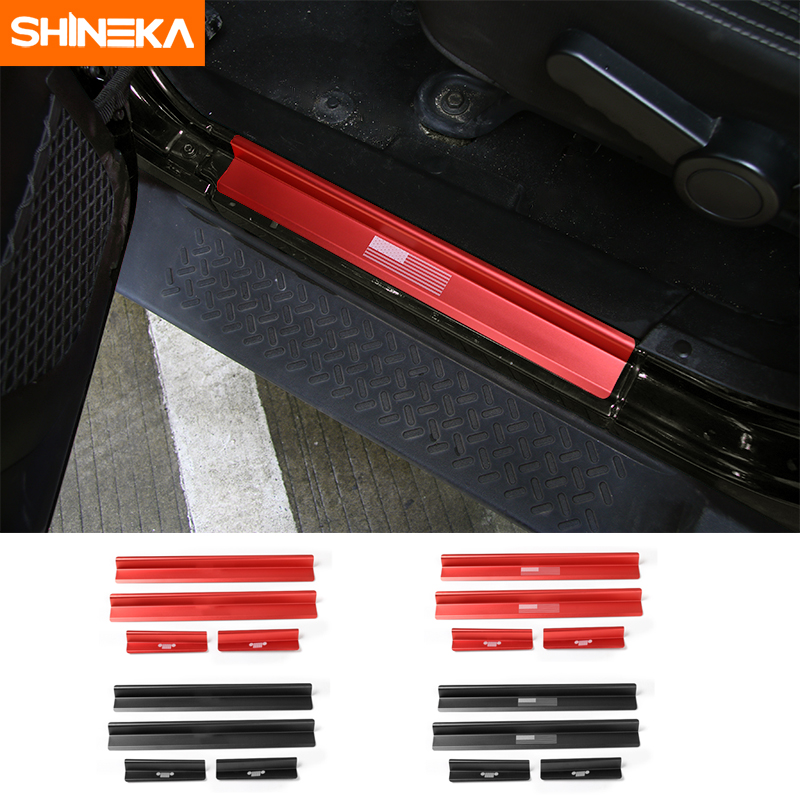 SHINEKA For 2007 - 2017 Jeep Wrangler JK 4 Door Sill Scuff Plate Guard Heavy Duty Aluminum Door Sills Protector Stickers Trim for jeep compass 2017 door sill scuff plate protector entry guard cover external car door threshold decoration trim silver blac