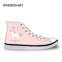 WHEREISART Lady Pink Designer Sneakers Animals Unicorn Printed Canvas Shoes Casual Femme Spring Autumn High Top Vulcanize Shoes