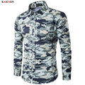 2017 New Mens Shirts Long Sleeve Hiphop Streetwear Camo Mens Long Shirts Denim Extended Shirts Mens Hip Hop Military Style Plus