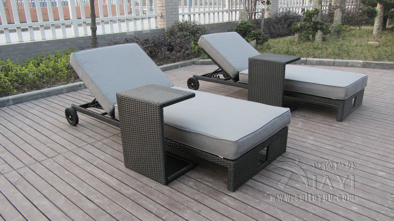 все цены на 2pcs PE Rattan Sun Lounger , Cane Beach Lounge Chair With Side Table transport by sea