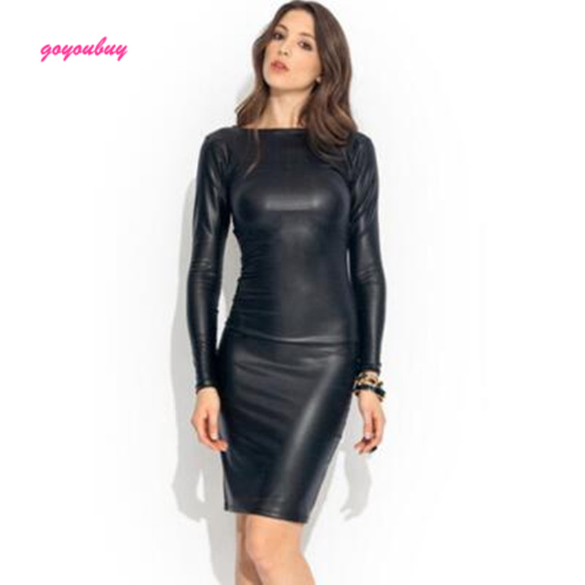 Popular Long Sleeve Leather Dress-Buy Cheap Long Sleeve Leather ...