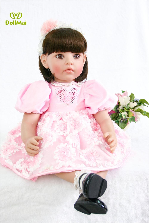 24 inch big princess doll Silicone Vinyl Reborn Baby Dolls 61cm Baby Girl Birthday Gift Realistic Newborn Doll Reborn Brinquedos