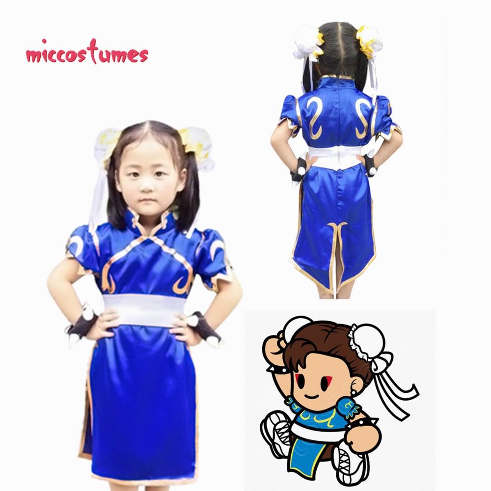Chun Li Kids Cosplay Costume Blue Cheongsam Halloween Party Dress For Girl Halloween Outfit