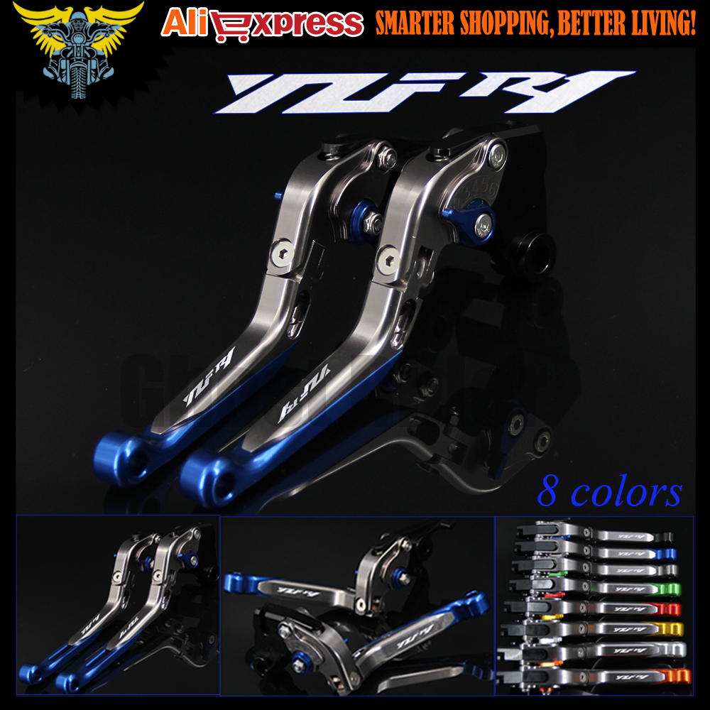 Laser Logo(YZF R1) Blue+Titanium 8 Colors CNC Folding Extendable Motorcycle Brake Clutch Levers For Yamaha YZF R1 1999 2000 2001 6 colors cnc adjustable motorcycle brake clutch levers for yamaha yzf r6 yzfr6 1999 2004 2005 2016 2017 logo yzf r6 lever