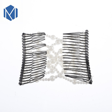 M MISM Women Pearl Beads Elastic Hair Combs Double Slide Magic Bun DIY Hairstyle Making Tool Metal Novelty Hair Clip Accessories