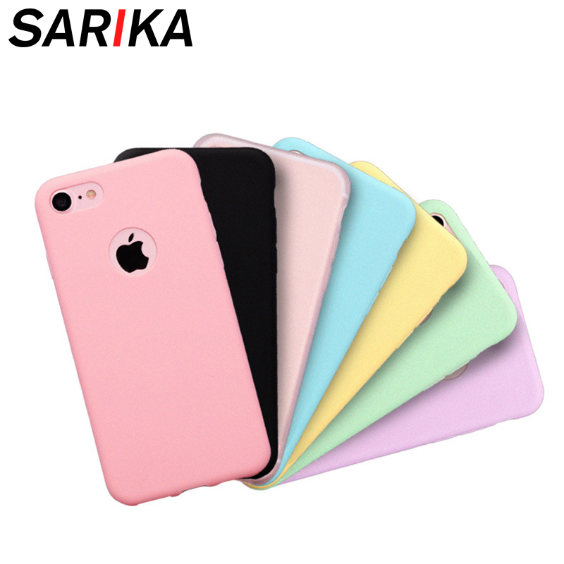 Sarika Candy Color Soft TPU Phone Case For IPhone 5 5s Se 6 6s 7 8 Plus With Logo Hole Silicone Cover For IPhone X XR XS Max