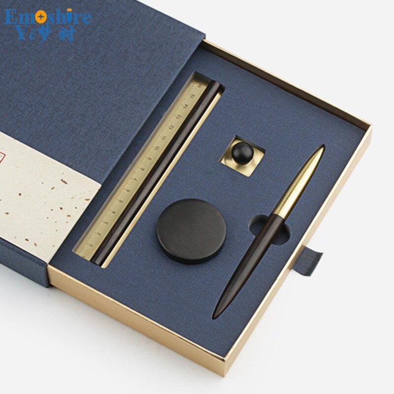 Stylo à bille joint règle ensemble en laiton massif bois rouleau stylo à bille boîte porte-crayon papeterie bureau d'affaires cadeaux d'anniversaire P439