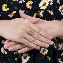 Solid 18k Yellow Gold Natural Emerald Ring  Diamond Wedding  Rings Natural Columbian Gemstone Jewelry WU0313