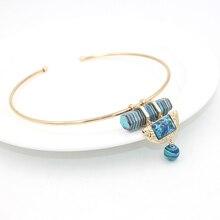 Натуральный камень ожерелье femme 2016 ZA новый позолоченный открытие воротник Ожерелье бирюзовый Камень Подвески Ожерелья для женщин