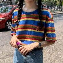 2019 Harajuku Tshirts Korean Casual Sumemr O-neck Loose Women Tops Rainbow Striped Short Sleeve Tee Shirts Female Clothes