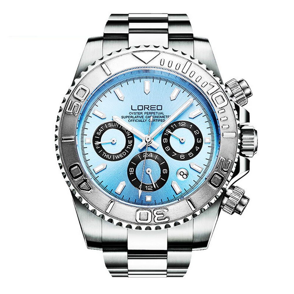 LOREO Mens Sport Multifunction Dial Steel Band Luminous 200M Waterproof Automatic Mechanical Wrist Watches with Month,Week,Date