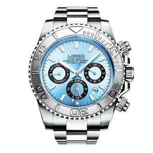 Image 1 - LOREO Mens Sport multifunción Dial banda de acero luminoso 200M impermeable automático relojes de pulsera mecánicos con mes, semana, fecha