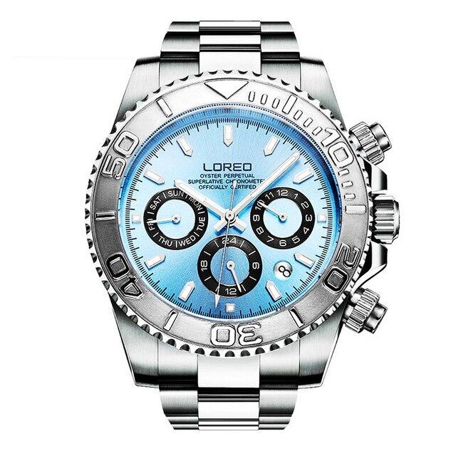 LOREO Mens Sport multifunción Dial banda de acero luminoso 200M impermeable automático relojes de pulsera mecánicos con mes, semana, fecha