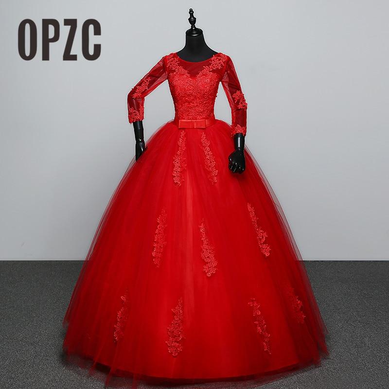 Customized White Red Wedding dress 2017 New Arrival Spring Summer 3 Quarter Sleeve Sweet Princess Bridal