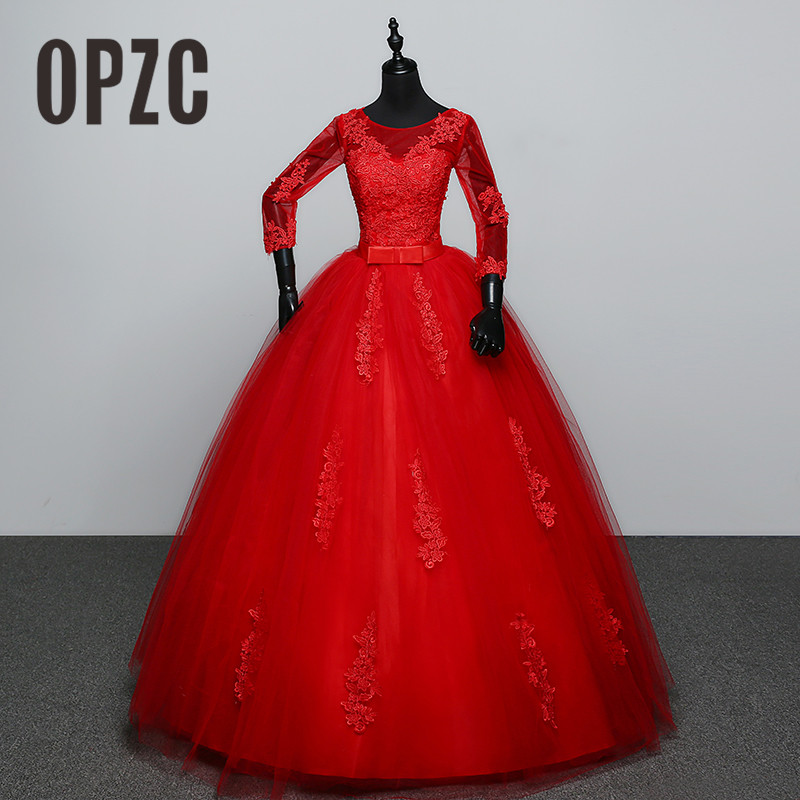 Customized White Red Wedding dress 2017 New Arrival Spring Summer 3 Quarter Sleeve Sweet Princess Bridal Gowns Vestidos De Novia