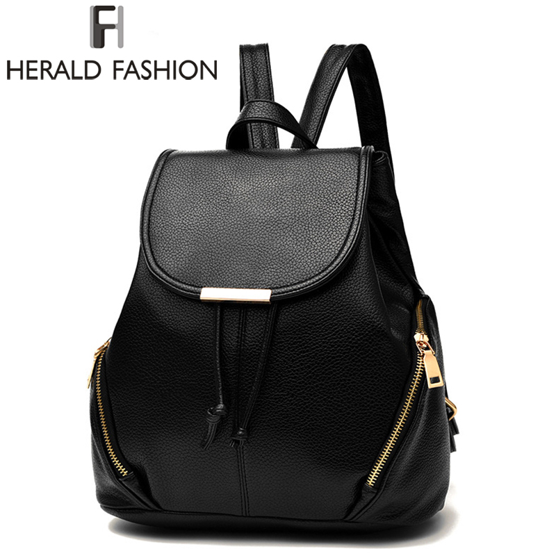 Herald Fashion Women Backpack High Quality PU Leather School Bags For Teenagers Girls Solid Top-handle Travel Backpacks brand women bow backpacks pu leather backpack travel casual bags high quality girls school bag for teenagers
