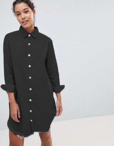 Fashion Women Long Sleeve Loose Denim Shirts Dress Summer Casual Female Mini Dress Ladies Turn-down Collar Shirt Short Dresses