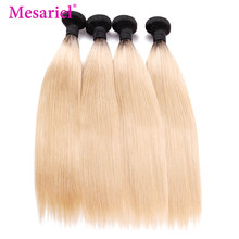 Mesariel Hair Extension 1b/613 Ombre Straight Hair Bundles 3/4 Brazilian Hair Weave Bundles 2 Tone Remy Hair Weave(China)