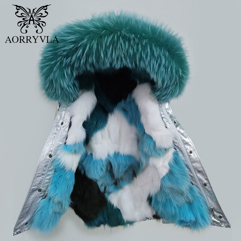 AORRYVLA 2018 New Winter Women   Parka   Real Fur Big Raccoon Fur Collar Hooded Short Jacket Luxury Fox Liner Thick Warm Winter Coat
