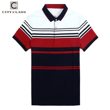 CITY CLASS Brand clothing top mens polo shirt business stripes male polo shirt short sleeve breathable high end 3xl polo 18806