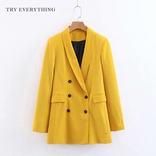 Yellow Blazer Women Long Double Breasted Blazers Sleeve Suit Jacket Ladies Coats Casual Woman 2019