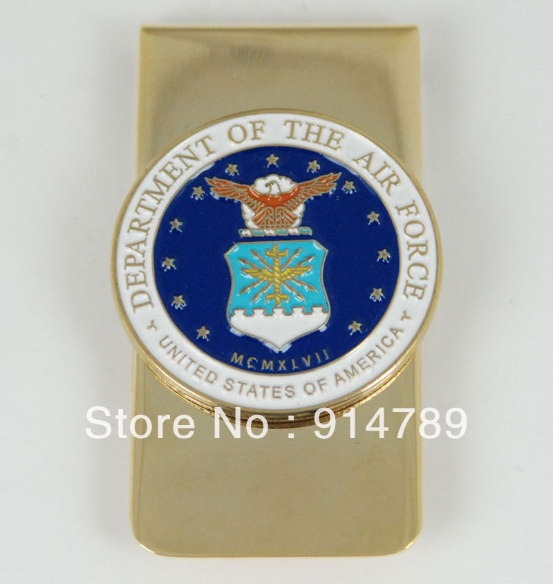 US UNITED STATES DEPARTMENT OF THE AIR FORCE METAL BADGE MONEY CLIP-33176