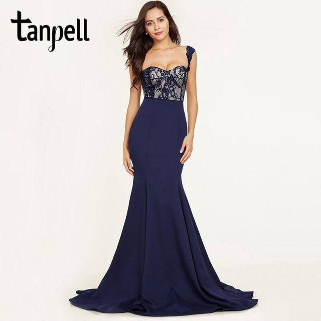 Tanpell straps long evening dress dark royal blue lace sleeveless ...