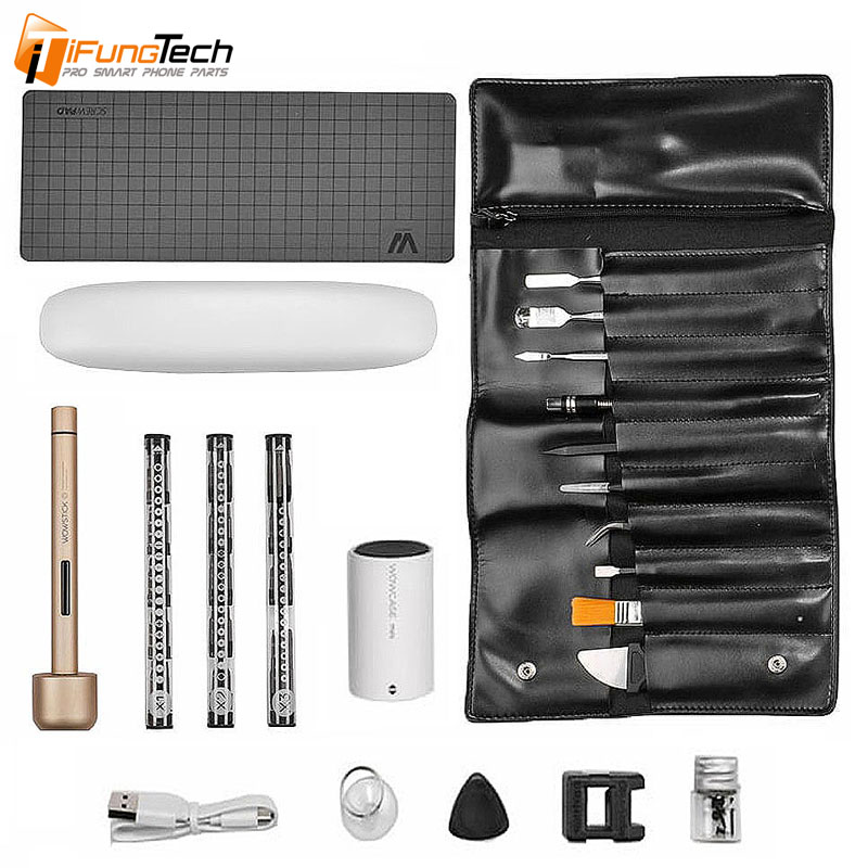 WOWSTICK 1 PRO MINI LITHIUM CORDLESS ELECTRIC SCREWDRIVER WITH TOOL KIT LEATHER BAG For Phone Repair ToolsWOWSTICK 1 PRO MINI LITHIUM CORDLESS ELECTRIC SCREWDRIVER WITH TOOL KIT LEATHER BAG For Phone Repair Tools