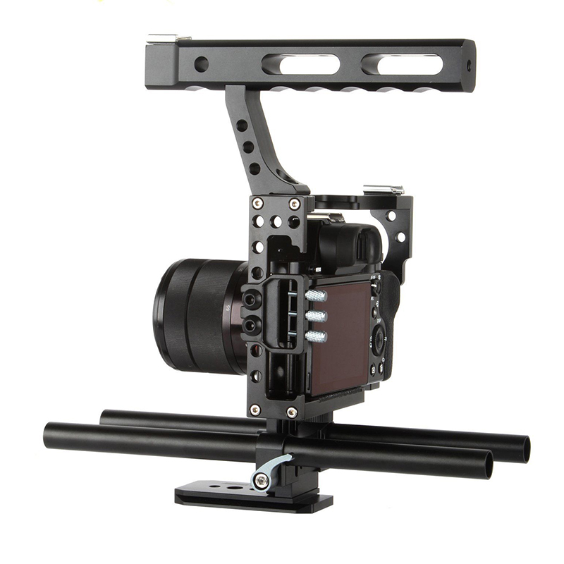 Portable DSLR Rod Rig Camera Video Cage Kit & Handle Grip for Sony A7 A7r A6300 Camera Accessories Parts Black yelangu aluminum alloy camera video cage kit film system with video cage top handle grip matte box follow focus for dslr