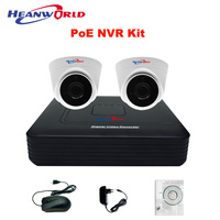 PoE camera kit home surveillance system IP security camera PoE NVR kit system with 2 indoor dome IP camera PoE 720P