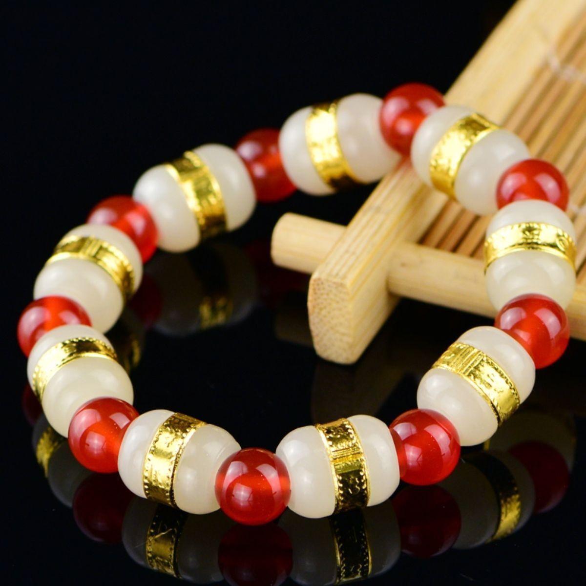 24 k Jaune Or Hetian Jade Perle Avec Rouge Agate Perles Lien Bracelet 6.3 inchL24 k Jaune Or Hetian Jade Perle Avec Rouge Agate Perles Lien Bracelet 6.3 inchL
