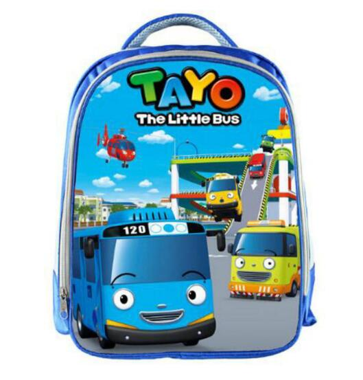 Image 1 - TAYO Bus Blue School Bags for Teenagers Cartoon Cars 13 inch 3D Printing Boys Girls Children Backpack Kids School Bag-in School Bags from Luggage & Bags