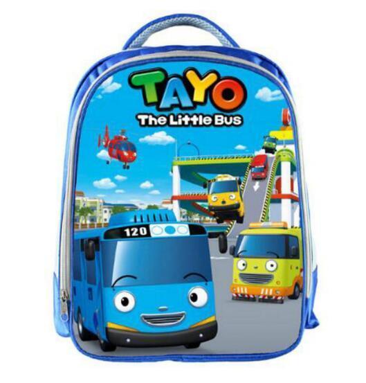 TAYO Bus Blue School Bags for Teenagers Cartoon Cars 13 inch 3D Printing Boys Girls Children Backpack Kids School Bag