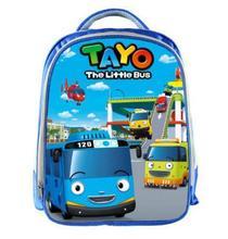 Школьные портфели TAYO для мальчиков и девочек, синие рюкзаки для подростков с мультяшными машинками и 3D принтом, 13 дюймов