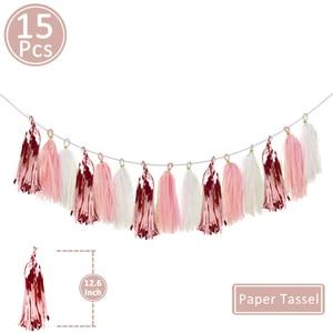 Image 3 - 15pcs Rose Goud Papier Tassel Garland Kids Adult Happy Birthday Eerste 1st Baby Jongen Meisje Een Jaar banner Levert