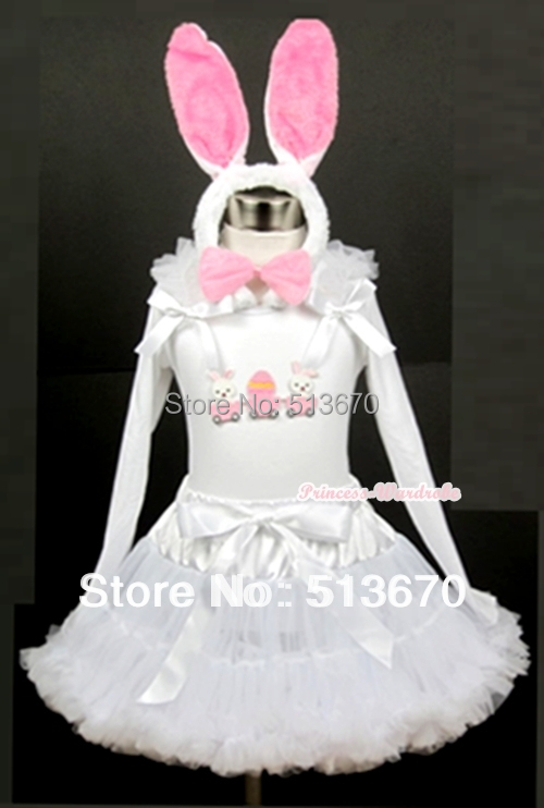 EASTER Bunny Rabbit Egg Long Sleeves Shirt with White Pettiskirt matching Headband MAMW203 цена и фото