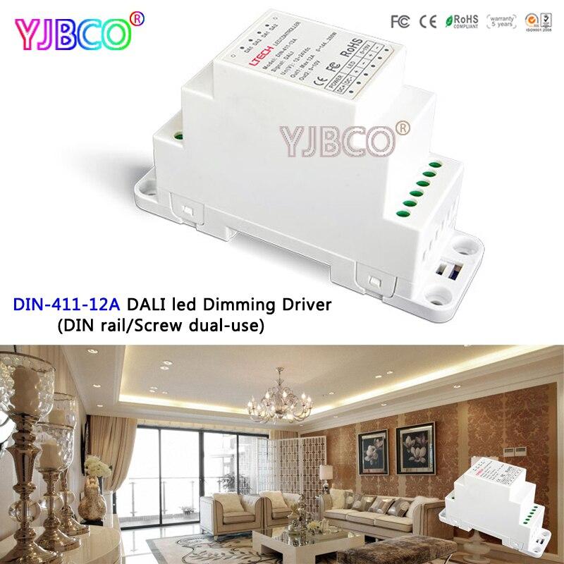 LTECH DIN-411-12A DALI à PWM CV Gradation Pilote (DIN rail/Vis à double usage); DC12-24V entrée; 12A * 1CH sortie pour lumière led