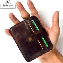 Men Top Genuine Leather Wallets Hasp Small Purse Fashion Women Card Coin Case Wallets Slim Male Clutch Unisex crazy horse Retro