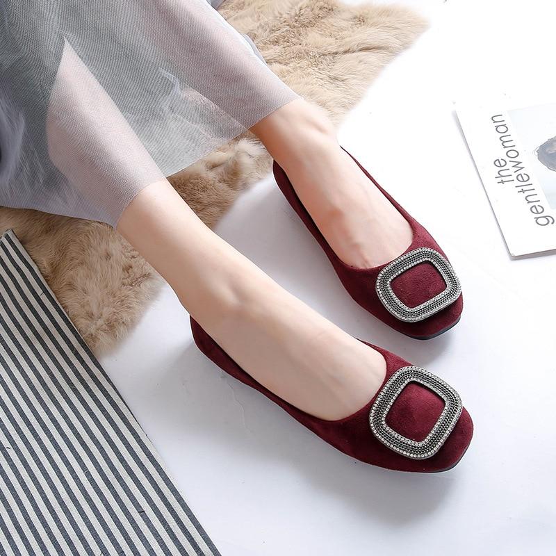 Glissement Métal Des Grande De En Décoration Zapatos Taille D'hiver pink wine Vin Rose Carré Noir Rouge Chaussures Appartements Peluche Orteil Purple Noir Mujer Mocassins Femme Red Diapositives OXzPqn