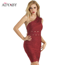 Bodycon Party Dress With Open Back One Shoulder Bandage Dress Red Summer  2018 Fashion Sexy Club 9508248889bf