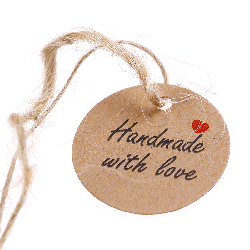 100Pcs Handmade With Love Labels Hang Tags Blank Kraft Paper With 20m String Tag Labels Party Favors Gift