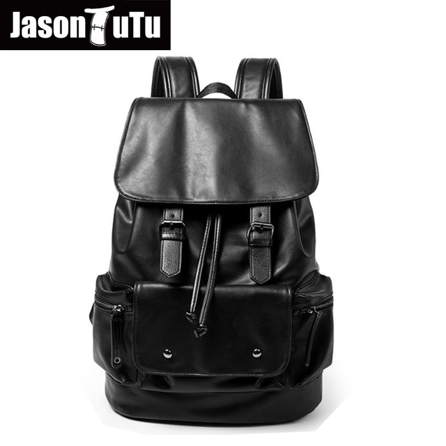 d1412db6a4 JASON TUTU Men s Anti theft drawstring laptop backpack good quality PU  Leather Black Backpack male bag