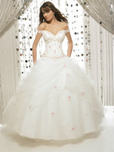 2014 Ball Gown Off Shoulder Embroideried Red White with Pink Quinceanera Dresses